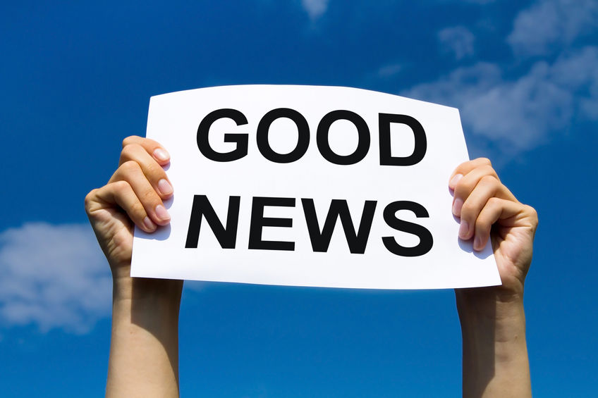 """A sign saying """"Good News."""" The good news of the Gospel of Mark is that Jesus is King and the emperor is not."""