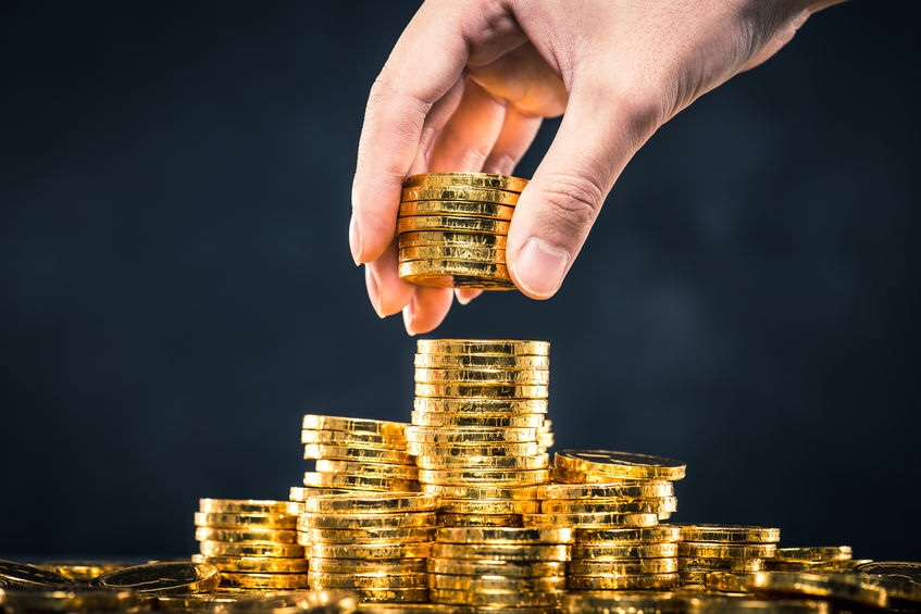 Many gold coins like the rich man.
