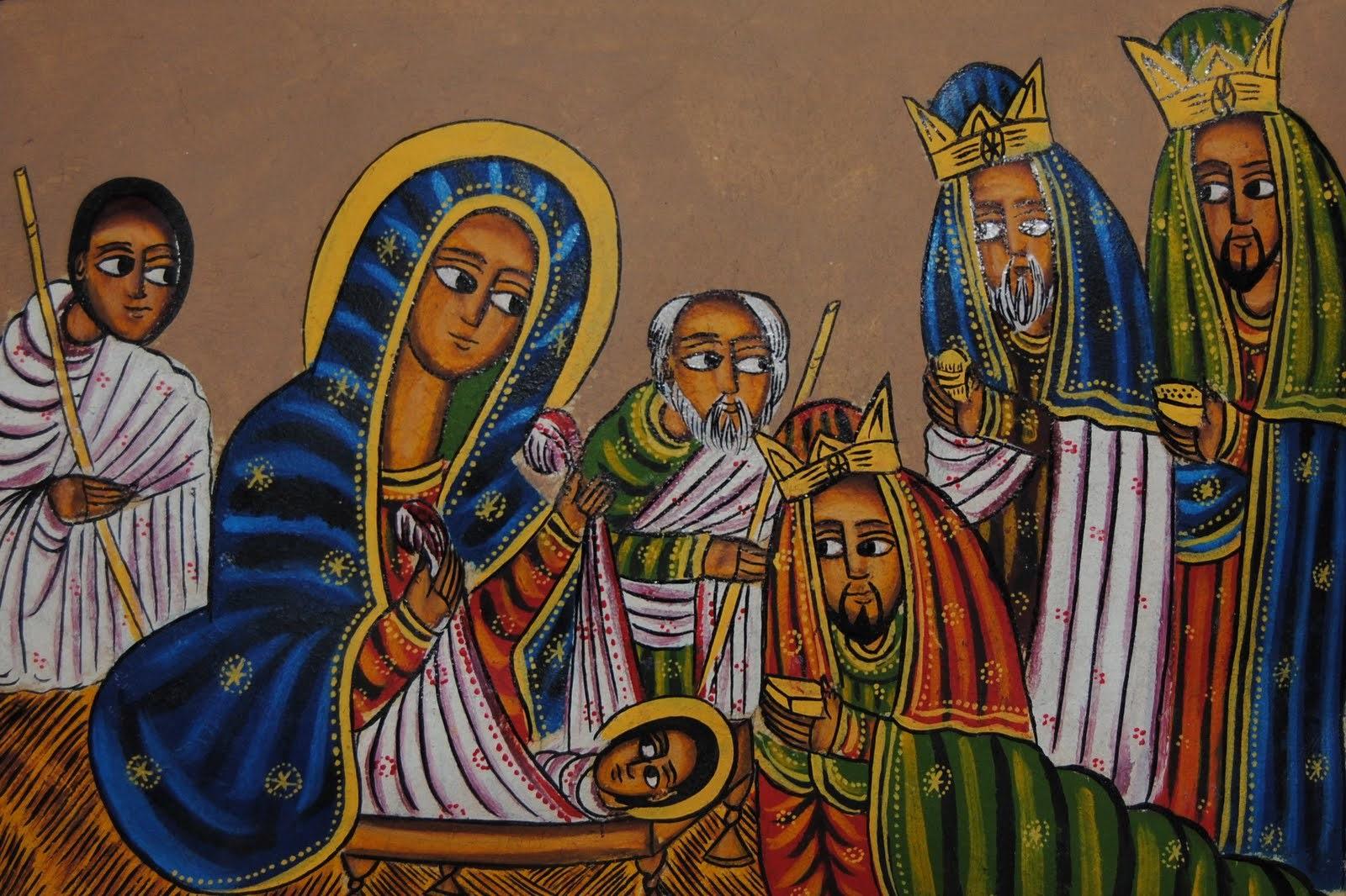 Traditional Ethiopian Orthodox art depicting the Nativity.