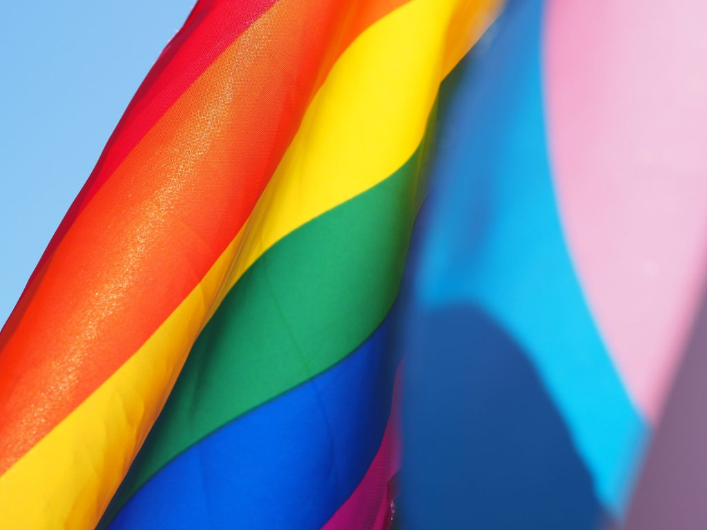 Rainbow and transgender flags representing sexual orientation and gender identity.